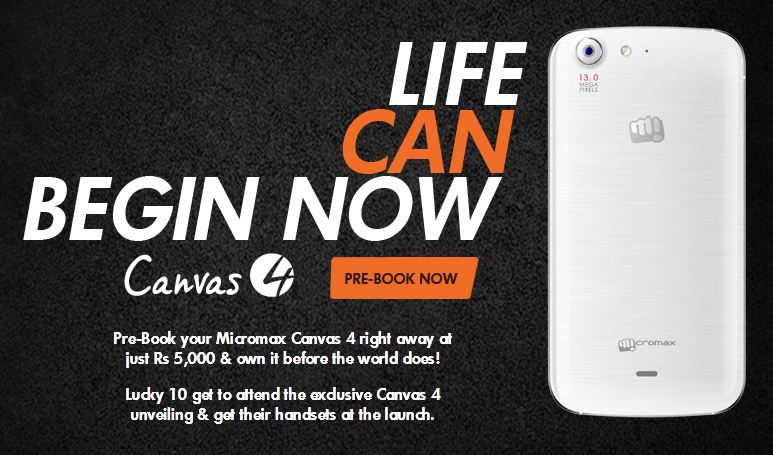 Micromax Starts Receiving Pre-bookings for Canvas 4